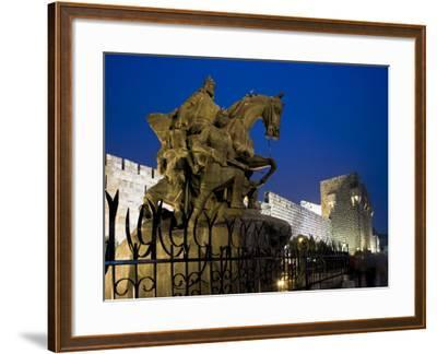 Statue of Saladin Stands in Front of the Citadel, Damascus, Syria-Julian Love-Framed Photographic Print