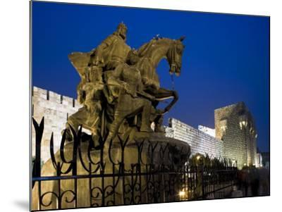 Statue of Saladin Stands in Front of the Citadel, Damascus, Syria-Julian Love-Mounted Photographic Print