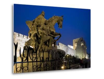 Statue of Saladin Stands in Front of the Citadel, Damascus, Syria-Julian Love-Metal Print