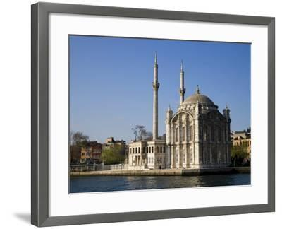 Mecidiye Mosque Stands on Water's Edge at Ortakoy, One of Pretty Bosphorus Villages in Istanbul-Julian Love-Framed Photographic Print