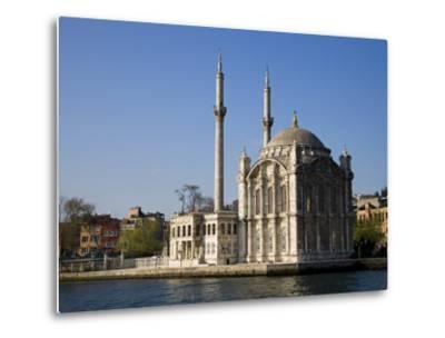 Mecidiye Mosque Stands on Water's Edge at Ortakoy, One of Pretty Bosphorus Villages in Istanbul-Julian Love-Metal Print
