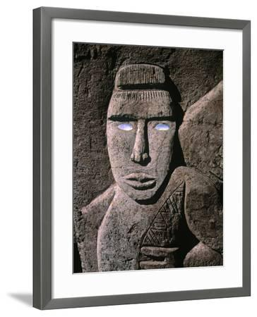 Traditional Stone Carving, Rarotonga, Cook Islands-Neil Farrin-Framed Photographic Print