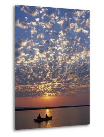 Canoeing under a Mackerel Sky at Dawn on the Zambezi River, Zambia-John Warburton-lee-Metal Print