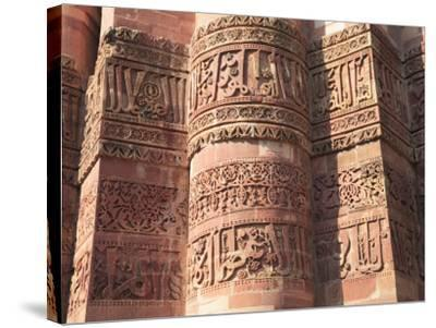 Detail of Qutab Minar Tower, UNESCO World Heritage Site, New Delhi, India, Asia-Wendy Connett-Stretched Canvas Print