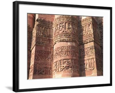 Detail of Qutab Minar Tower, UNESCO World Heritage Site, New Delhi, India, Asia-Wendy Connett-Framed Photographic Print