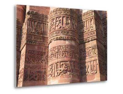 Detail of Qutab Minar Tower, UNESCO World Heritage Site, New Delhi, India, Asia-Wendy Connett-Metal Print