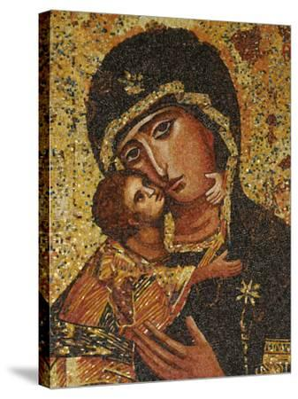 Mosaic of Greek Virgin, Annunciation Basilica, Nazareth, Galilee, Israel, Middle East-Godong-Stretched Canvas Print
