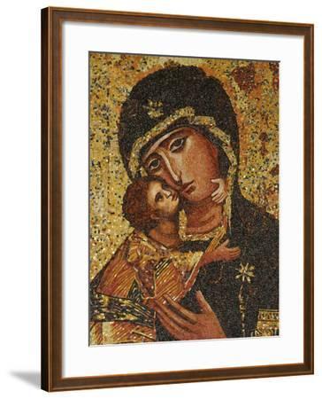 Mosaic of Greek Virgin, Annunciation Basilica, Nazareth, Galilee, Israel, Middle East-Godong-Framed Photographic Print