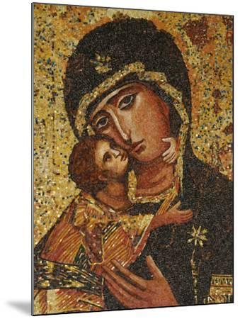 Mosaic of Greek Virgin, Annunciation Basilica, Nazareth, Galilee, Israel, Middle East-Godong-Mounted Photographic Print