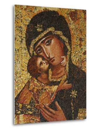Mosaic of Greek Virgin, Annunciation Basilica, Nazareth, Galilee, Israel, Middle East-Godong-Metal Print
