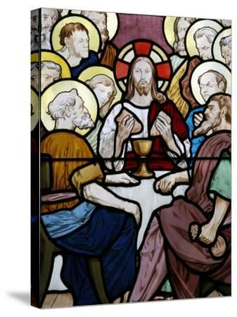 Stained Glass Depicting the Last Supper at Saint-Honor? D'Eylau Church, Paris, Ile De France-Godong-Stretched Canvas Print