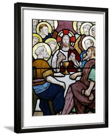 Stained Glass Depicting the Last Supper at Saint-Honor? D'Eylau Church, Paris, Ile De France-Godong-Framed Photographic Print