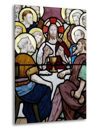 Stained Glass Depicting the Last Supper at Saint-Honor? D'Eylau Church, Paris, Ile De France-Godong-Metal Print