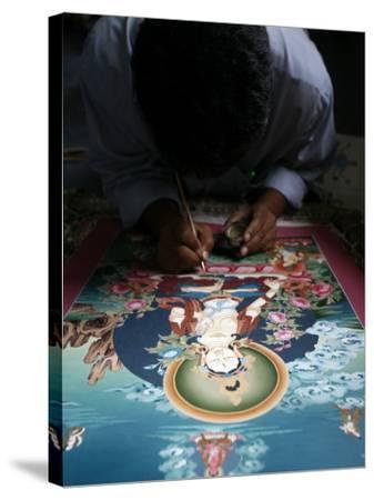 Painting a Thangka Depicting White Tara Goddess, Buddhist Symbol of Long Life, Bhaktapur-Godong-Stretched Canvas Print