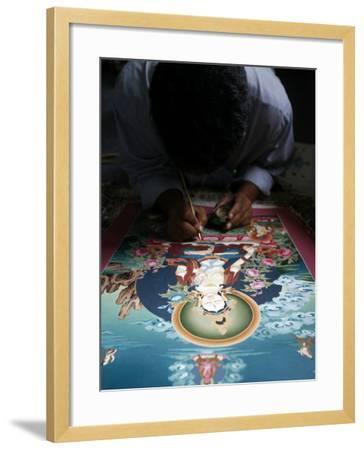 Painting a Thangka Depicting White Tara Goddess, Buddhist Symbol of Long Life, Bhaktapur-Godong-Framed Photographic Print
