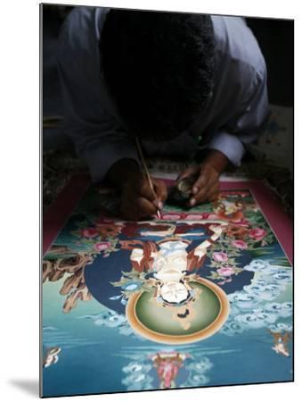 Painting a Thangka Depicting White Tara Goddess, Buddhist Symbol of Long Life, Bhaktapur-Godong-Mounted Photographic Print