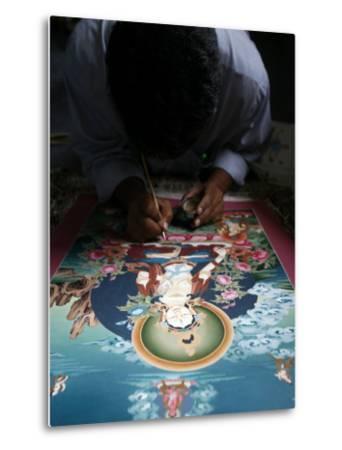 Painting a Thangka Depicting White Tara Goddess, Buddhist Symbol of Long Life, Bhaktapur-Godong-Metal Print