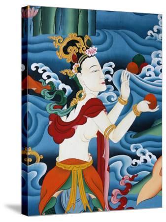 Painting of a Tibetan Deity, Kopan Monastery, Kathmandu, Nepal, Asia-Godong-Stretched Canvas Print