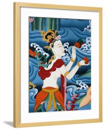 Painting of a Tibetan Deity, Kopan Monastery, Kathmandu, Nepal, Asia-Godong-Framed Photographic Print