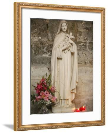 Statue of St.Therese De Lisieux, Semur-En-Auxois, Cote D'Or, Burgundy, France, Europe-Godong-Framed Photographic Print