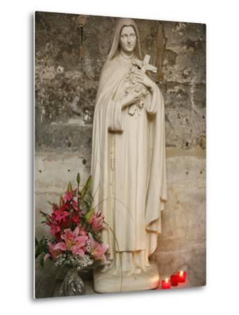 Statue of St.Therese De Lisieux, Semur-En-Auxois, Cote D'Or, Burgundy, France, Europe-Godong-Metal Print