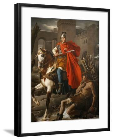 Painting of St. Martin Sharing His Coat, St. Gatien Cathedral, Tours, Indre-Et-Loire-Godong-Framed Photographic Print