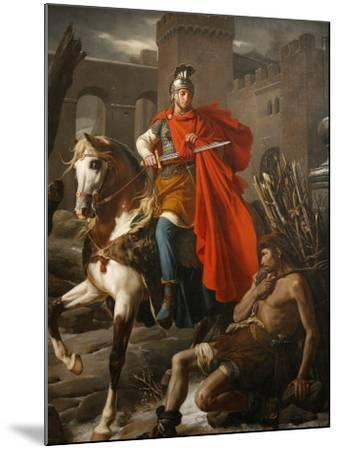 Painting of St. Martin Sharing His Coat, St. Gatien Cathedral, Tours, Indre-Et-Loire-Godong-Mounted Photographic Print