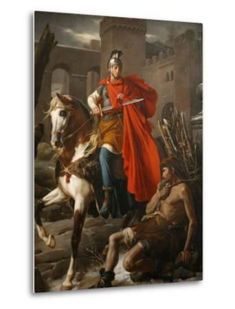 Painting of St. Martin Sharing His Coat, St. Gatien Cathedral, Tours, Indre-Et-Loire-Godong-Metal Print