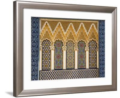 Ornate Architectural Detail Above the Entrance to the Royal Palace, Fez, Morocco, North Africa-John Woodworth-Framed Photographic Print