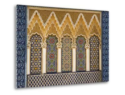 Ornate Architectural Detail Above the Entrance to the Royal Palace, Fez, Morocco, North Africa-John Woodworth-Metal Print