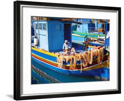 Fisherman Knotting a Fishing Net, Marsaxlokk, Malta, Mediterranean, Europe-Sakis Papadopoulos-Framed Photographic Print