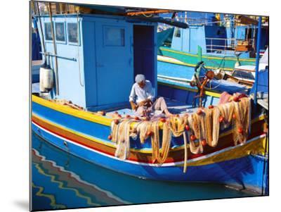 Fisherman Knotting a Fishing Net, Marsaxlokk, Malta, Mediterranean, Europe-Sakis Papadopoulos-Mounted Photographic Print