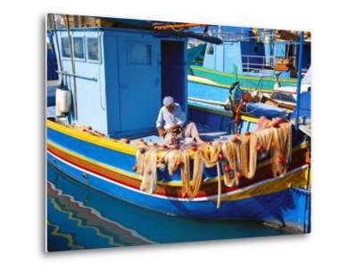 Fisherman Knotting a Fishing Net, Marsaxlokk, Malta, Mediterranean, Europe-Sakis Papadopoulos-Metal Print