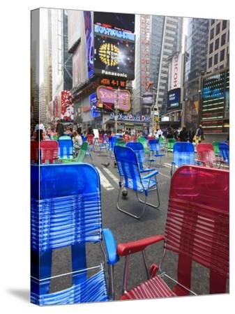 Garden Chairs in the Road for the Public to Sit in the Pedestrian Zone of Times Square, Manhattan-Amanda Hall-Stretched Canvas Print
