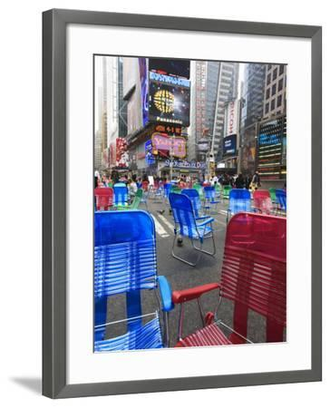 Garden Chairs in the Road for the Public to Sit in the Pedestrian Zone of Times Square, Manhattan-Amanda Hall-Framed Photographic Print