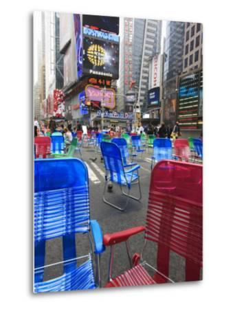 Garden Chairs in the Road for the Public to Sit in the Pedestrian Zone of Times Square, Manhattan-Amanda Hall-Metal Print