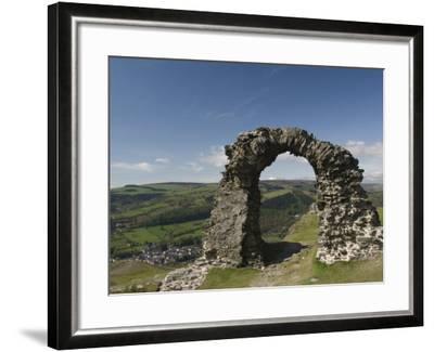 Ruins of Dinas Bran Castle and Village of Llangollen Below, Denbighshire-Richard Maschmeyer-Framed Photographic Print