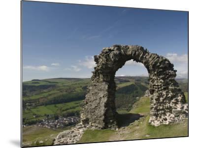 Ruins of Dinas Bran Castle and Village of Llangollen Below, Denbighshire-Richard Maschmeyer-Mounted Photographic Print