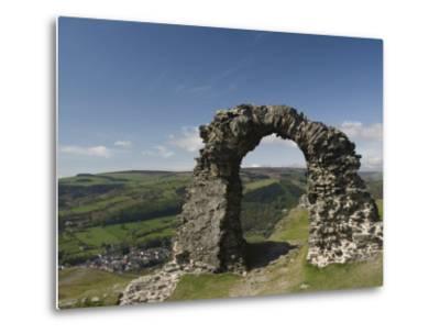 Ruins of Dinas Bran Castle and Village of Llangollen Below, Denbighshire-Richard Maschmeyer-Metal Print