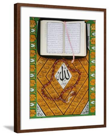 Koran, Rosary and Allah Calligraphy, Paris, France, Europe-Godong-Framed Photographic Print