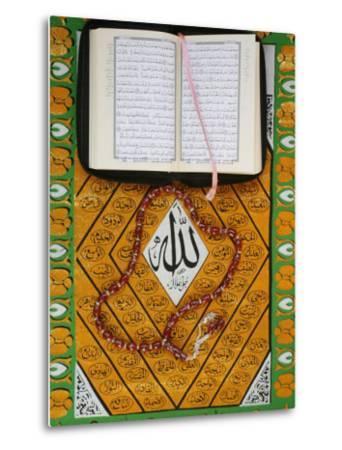 Koran, Rosary and Allah Calligraphy, Paris, France, Europe-Godong-Metal Print
