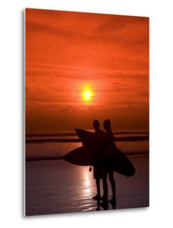 Two Surfers Calling it a Day, Kuta Beach, Bali, Indonesia, Southeast Asia, Asia-Richard Maschmeyer-Metal Print