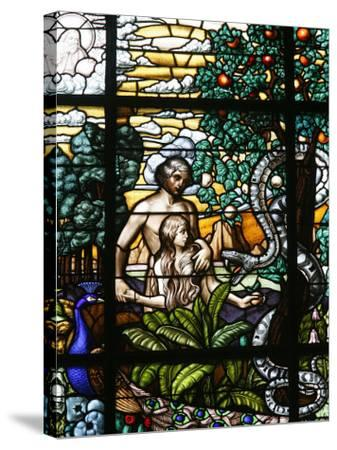 Stained Glass of Adam and Eve in the Garden of Eden, Vienna, Austria, Europe-Godong-Stretched Canvas Print