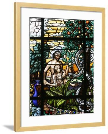 Stained Glass of Adam and Eve in the Garden of Eden, Vienna, Austria, Europe-Godong-Framed Photographic Print