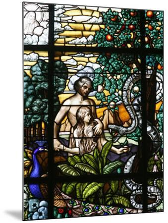 Stained Glass of Adam and Eve in the Garden of Eden, Vienna, Austria, Europe-Godong-Mounted Photographic Print