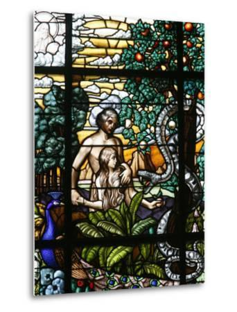 Stained Glass of Adam and Eve in the Garden of Eden, Vienna, Austria, Europe-Godong-Metal Print