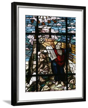 Stained Glass of Moses Holding the Tablets of the Law, Vienna, Austria, Europe-Godong-Framed Photographic Print