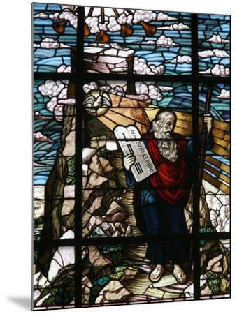 Stained Glass of Moses Holding the Tablets of the Law, Vienna, Austria, Europe-Godong-Mounted Photographic Print