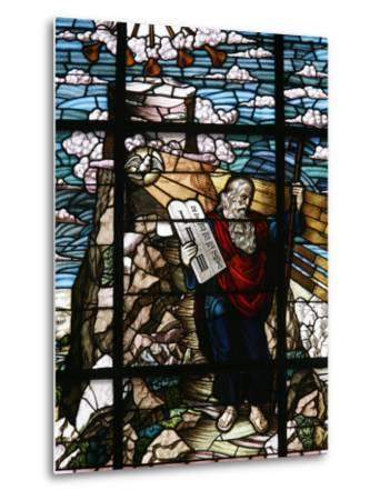 Stained Glass of Moses Holding the Tablets of the Law, Vienna, Austria, Europe-Godong-Metal Print