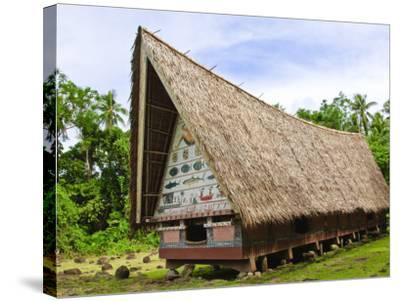 Men's Meeting House at Belau National Museum Koror, Republic of Palau, Pacific-Nico Tondini-Stretched Canvas Print